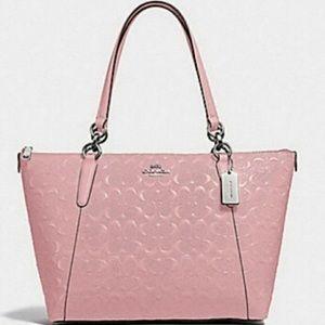 NEW COACH AVA Signature Debossed Pink Bag Purse